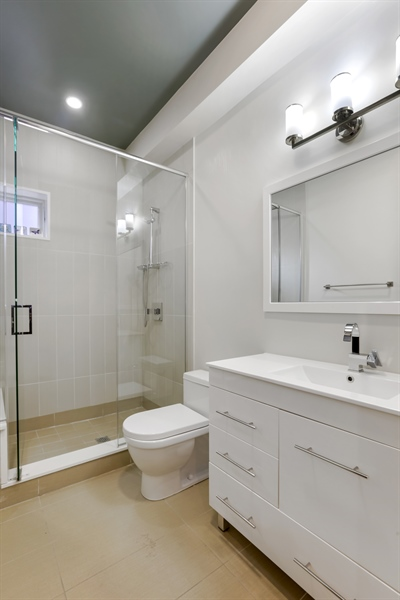 Real Estate Photography - 1544 West Henderson Street, Chicago, IL, 60657 - Lower Level Full Bathroom