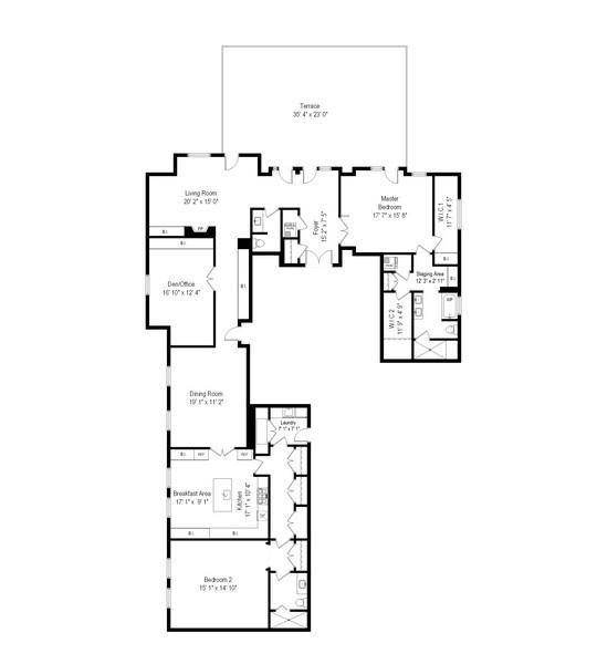 Real Estate Photography - 159 E Walton, Unit 19B, Chicago, IL, 60611 - Floor Plan