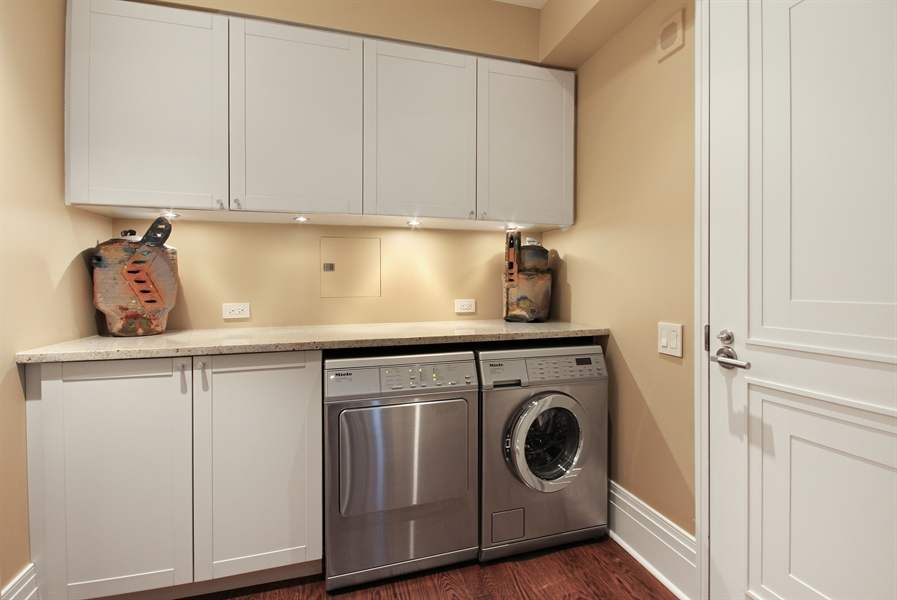 Real Estate Photography - 159 E Walton, Unit 19B, Chicago, IL, 60611 - Laundry Room