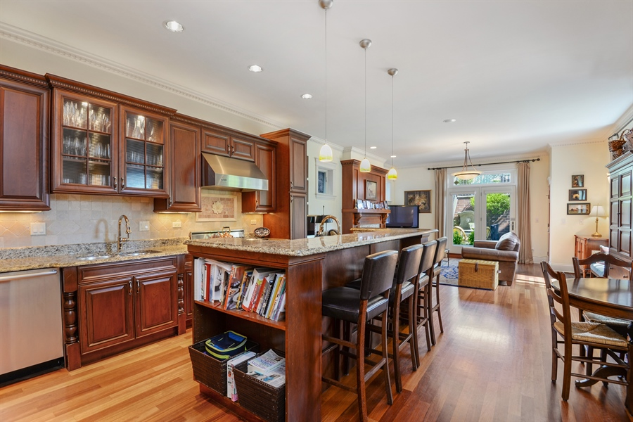 Real Estate Photography - 1232 Wellington, Chicago, IL, 60657 - Family Room / Kitchen