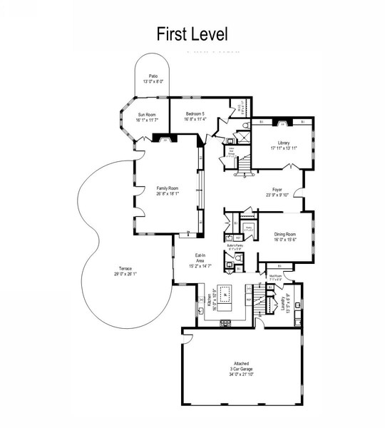 Real Estate Photography - 855 Woodland Drive, Glenview, IL, 60025 - First Level Floor Plan