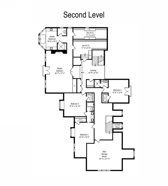 Real Estate Photography - 855 Woodland Drive, Glenview, IL, 60025 - Second Level Floor Plan