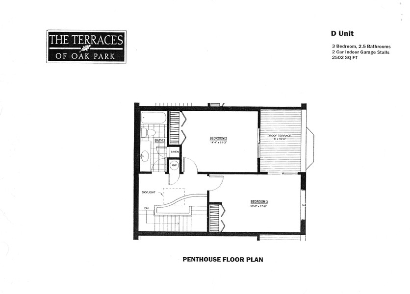 Real Estate Photography - 101 N. Euclid, 14, Oak Park, IL, 60301 - Penthouse/3rd Floor Plan