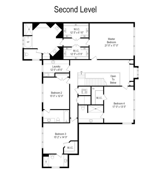 Real Estate Photography - 1354 Lincoln Ave S, Highland Park, IL, 60035 - Second Level Floor Plan