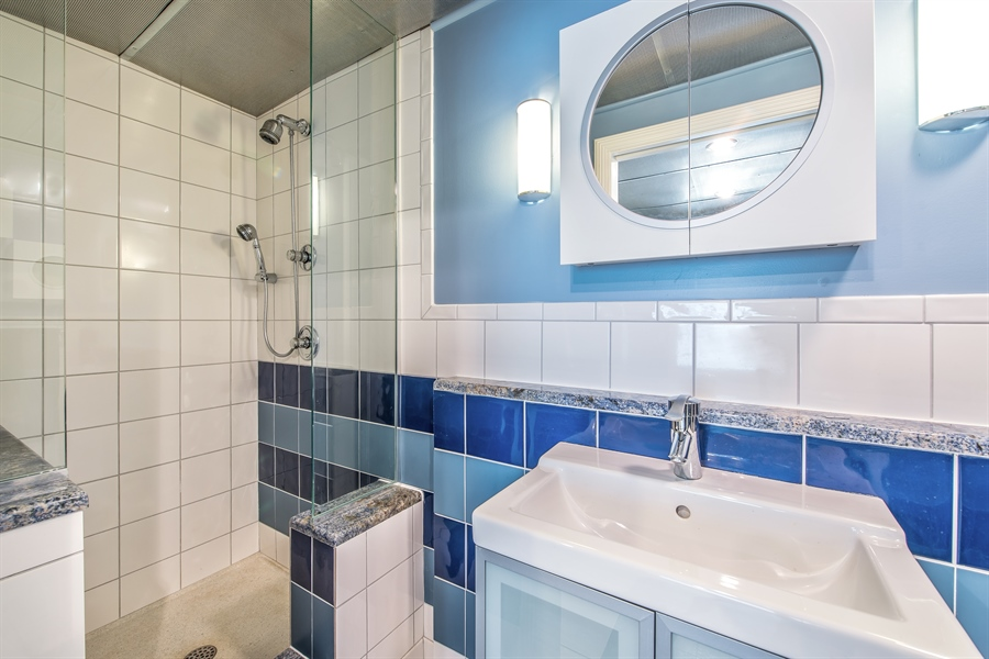 Real Estate Photography - 2035 Wagner Rd, Glenview, IL, 60025 - Lower level bathroom