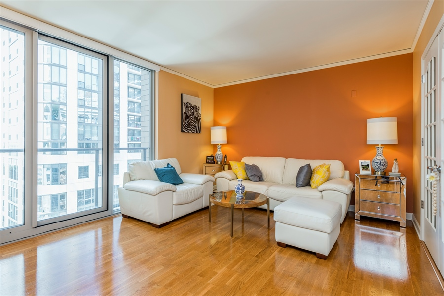 Real Estate Photography - 420 E Waterside Dr, Unit 1104, Chicago, IL, 60601 - Living Room