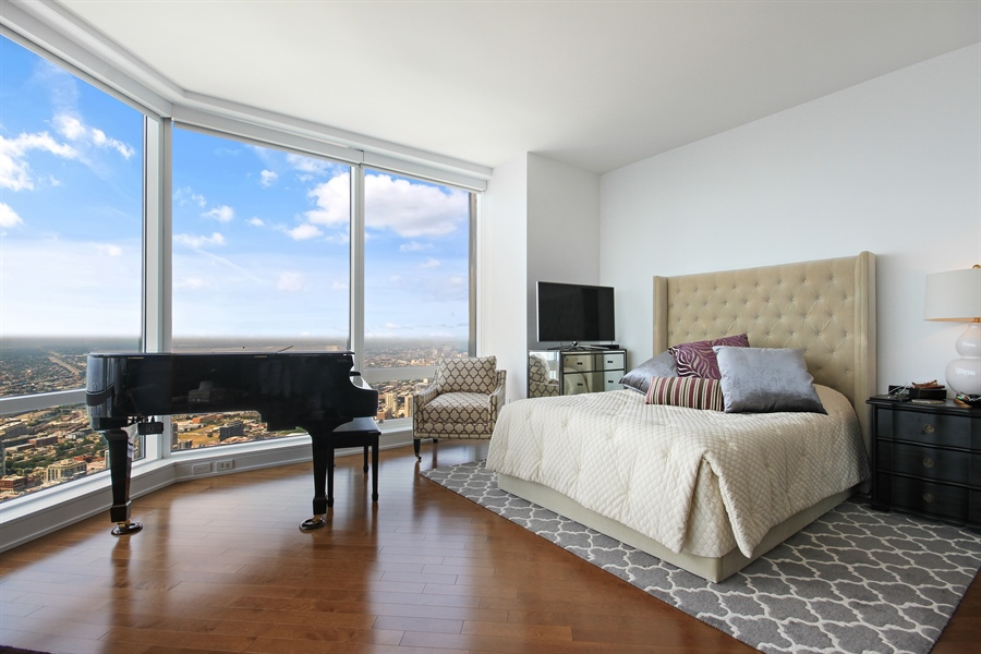 Real Estate Photography - 401 N Wabash, Unit 77C, Chicago, IL, 60611 - Master Bedroom