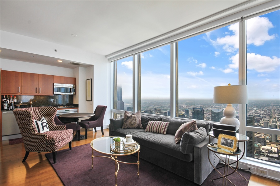 Real Estate Photography - 401 N Wabash, Unit 77C, Chicago, IL, 60611 - Living Room