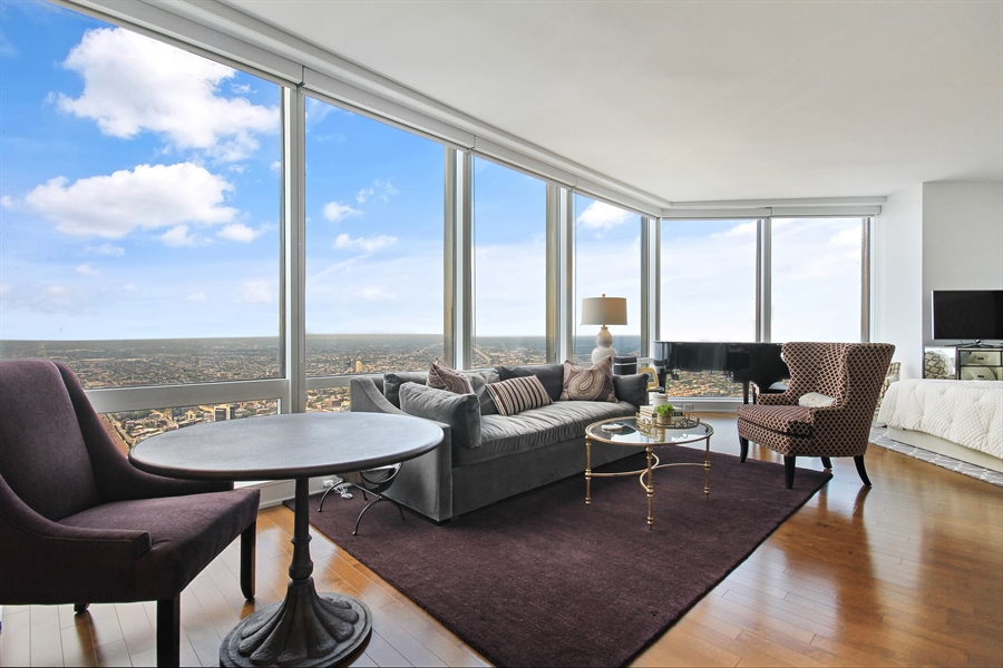 Real Estate Photography - 401 N Wabash, Unit 77C, Chicago, IL, 60611 - Living Room / Dining Room