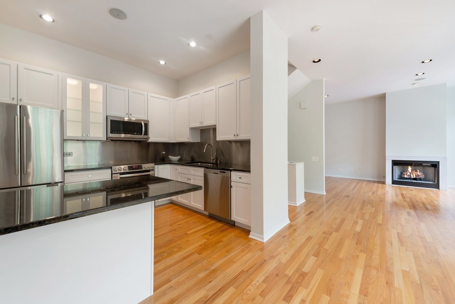 Real Estate Photography - 1445 N Cleveland, Unit A, Chicago, IL, 60610 - Kitchen / Living Room