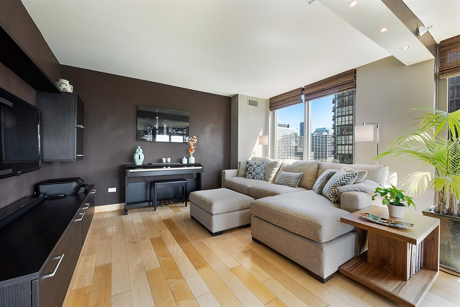 Real Estate Photography - 2 E Erie, 3005, Chicago, IL, 60611 - Family Room