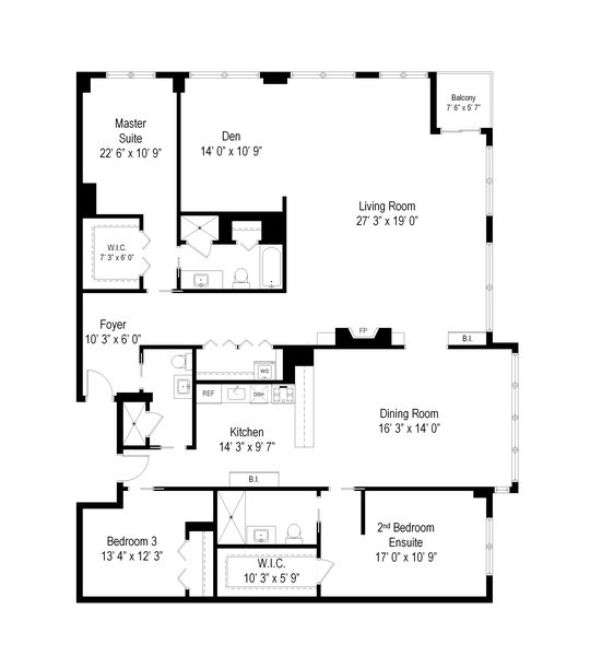 Real Estate Photography - 2 E Erie, 3005, Chicago, IL, 60611 - Floor Plan
