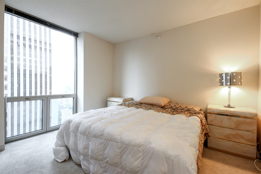 Real Estate Photography - 222 N Columbus, 2809, Chicago, IL, 60601 - Master Bedroom