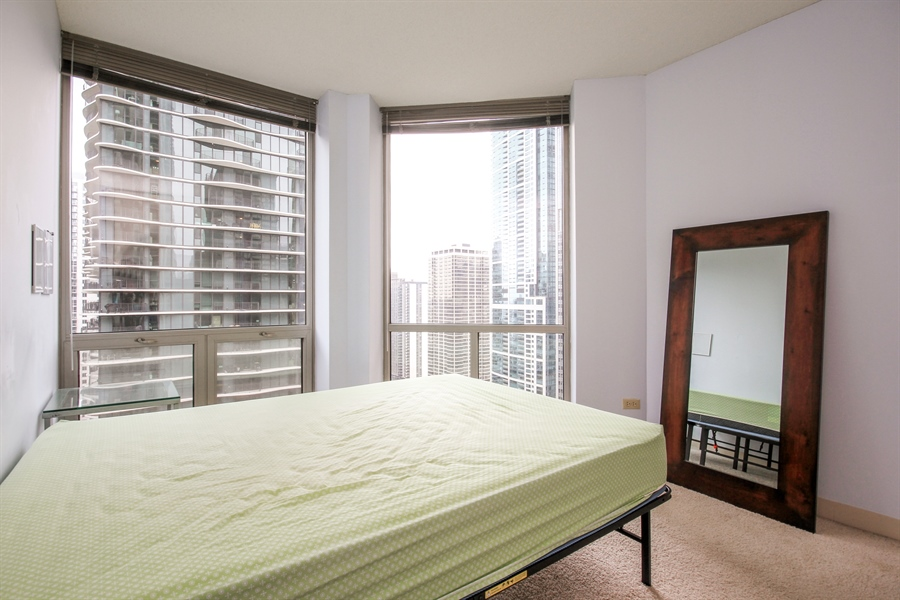 Real Estate Photography - 222 N Columbus, 2809, Chicago, IL, 60601 - Bedroom