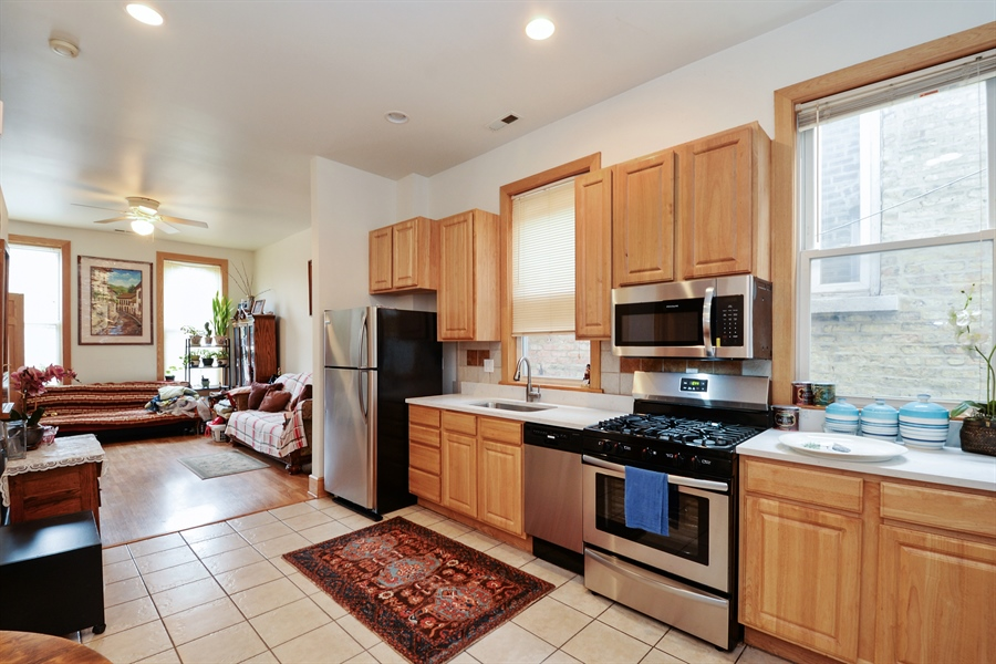 Real Estate Photography - 918 N Mozart, Chicago, IL, 60622 - Unit 2 - Kitchen & Living