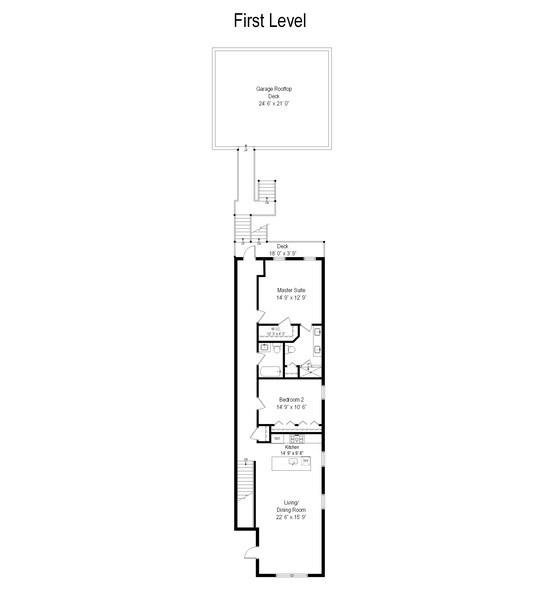 Real Estate Photography - 1522 Cortez St., 1, Chicago, IL, 60642 - Floor Plan