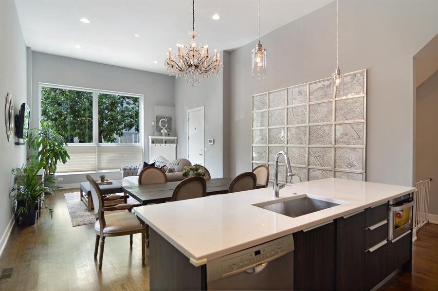 Real Estate Photography - 1522 Cortez St., 1, Chicago, IL, 60642 - Kitchen/Living