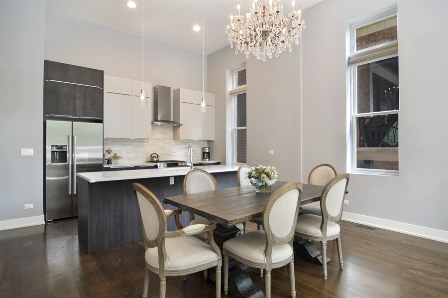 Real Estate Photography - 1522 Cortez St., 1, Chicago, IL, 60642 - Kitchen / Dining Room
