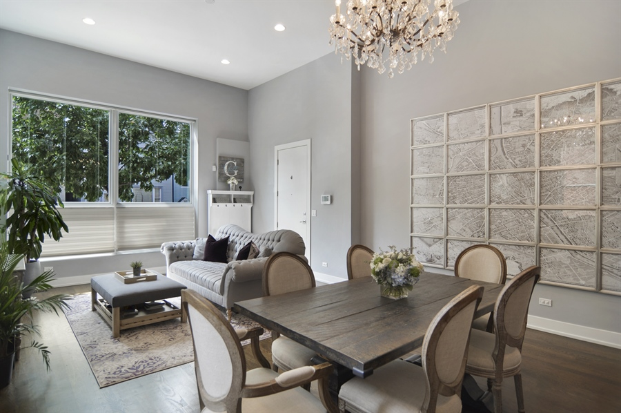 Real Estate Photography - 1522 Cortez St., 1, Chicago, IL, 60642 - Living Room / Dining Room