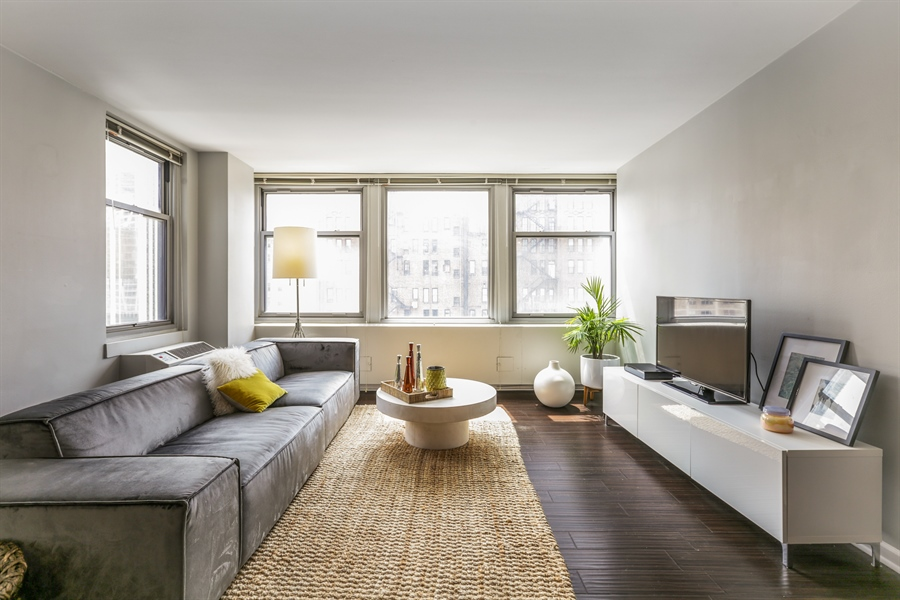 Real Estate Photography - 30 E Elm St, 16C, Chicago, IL, 60611 - Living Room