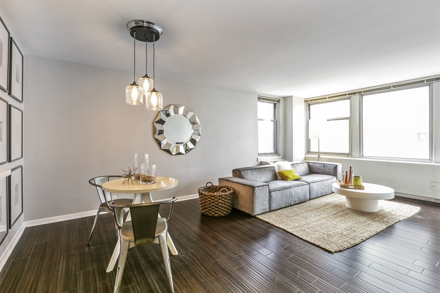 Real Estate Photography - 30 E Elm St, 16C, Chicago, IL, 60611 - Living Room / Dining Room
