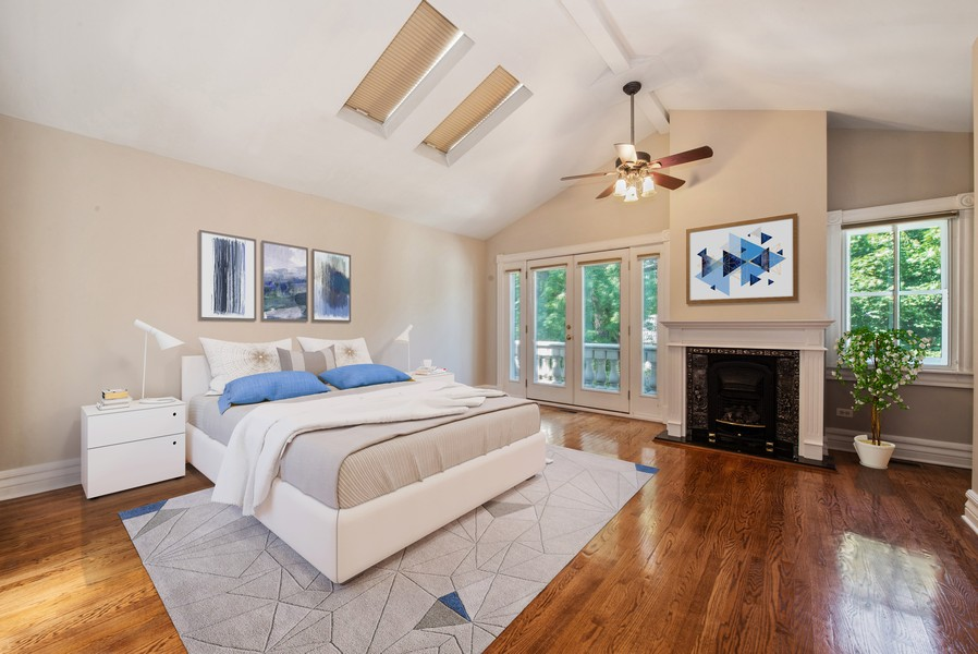 Real Estate Photography - 1735 W. Newport Ave, Chicago, IL, 60657 - Master Bedroom with Fireplace