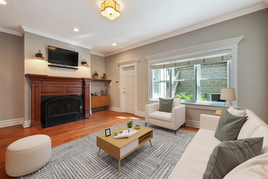 Real Estate Photography - 1735 W. Newport Ave, Chicago, IL, 60657 - Family Room off the Kitchen