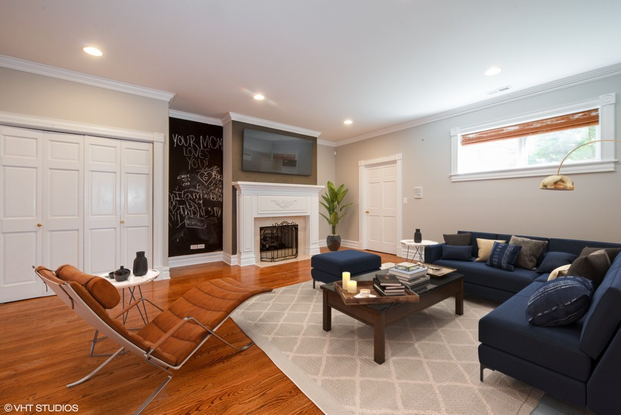 Real Estate Photography - 1735 W. Newport Ave, Chicago, IL, 60657 - Lower Level Rec Room