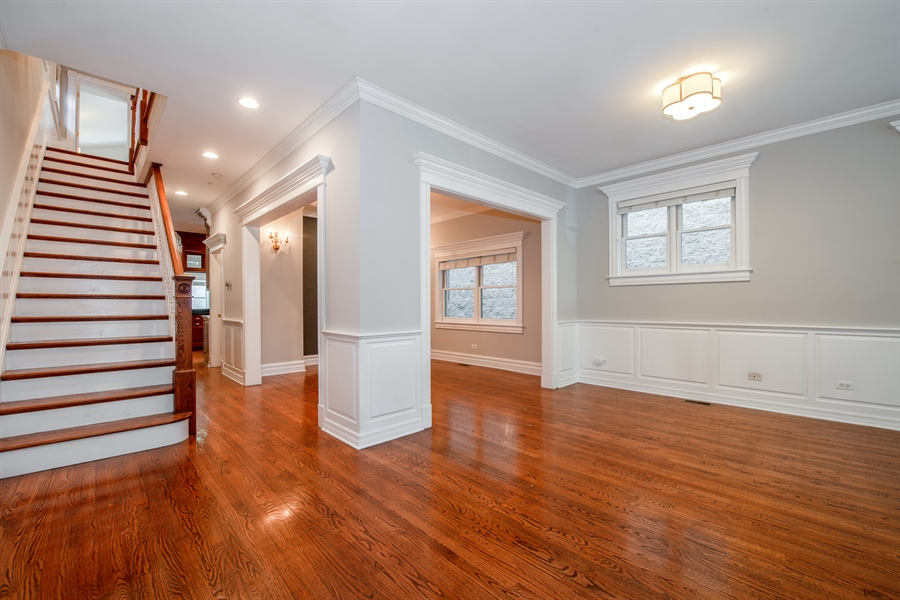 Real Estate Photography - 1735 W. Newport Ave, Chicago, IL, 60657 - Living Room and Dining Room