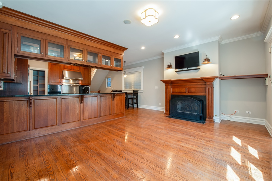 Real Estate Photography - 1735 W. Newport Ave, Chicago, IL, 60657 - Family Room / Kitchen