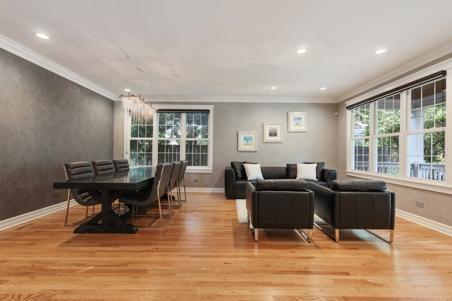 Real Estate Photography - 1352 Cavell, Highland Park, IL, 60035 - Living Room / Dining Room