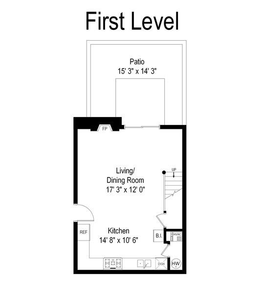 Real Estate Photography - 2218 N Magnolia, unit TI, Chicago, IL, 60614 - Floor Plan