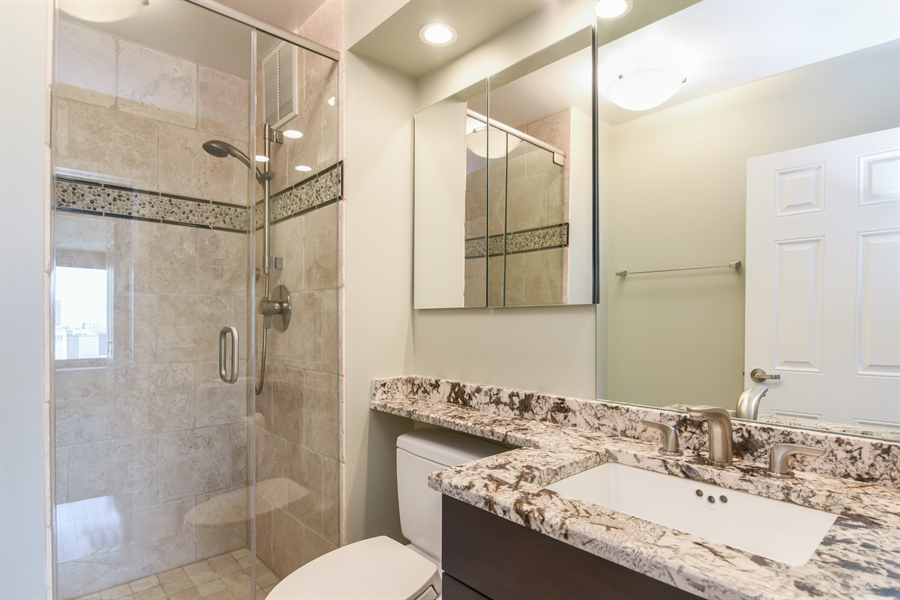 Real Estate Photography - 155 N Harbor Dr, Unit #3102, Chicago, IL, 60601 - 2nd Bathroom