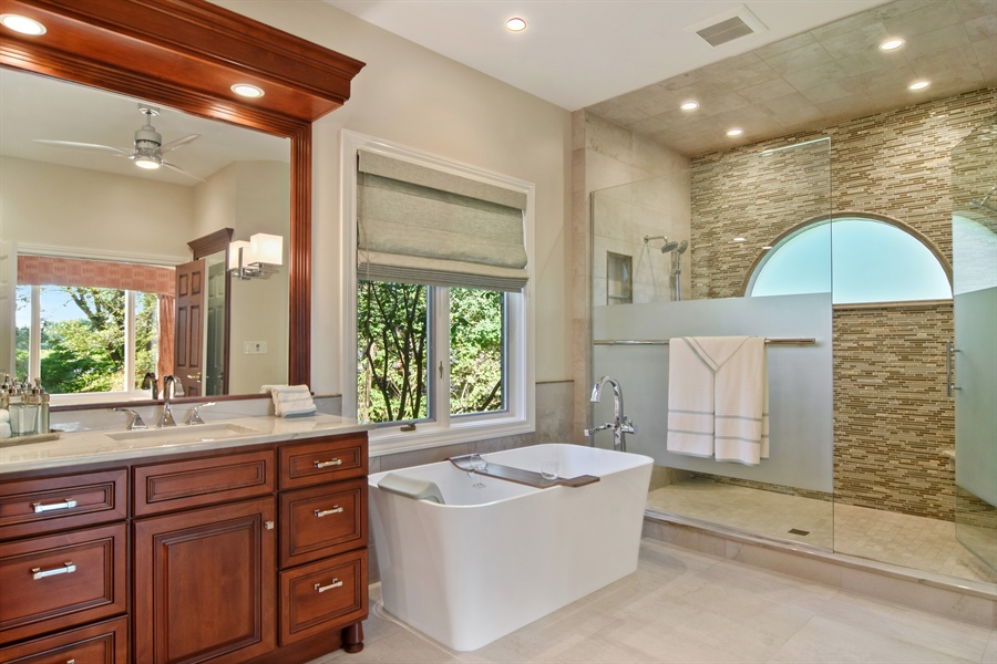 Real Estate Photography - 5443 Forrest Trail, Long Grove, IL, 60047 - Master Bathroom with view triple shower w/half moo