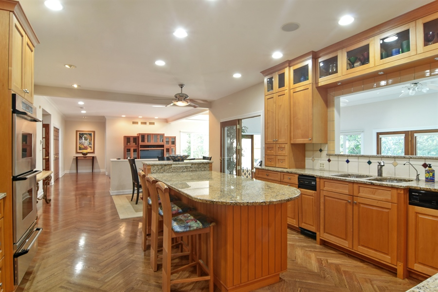 Real Estate Photography - 5443 Forrest Trail, Long Grove, IL, 60047 - Kitchen open to Family Room and Sun Room
