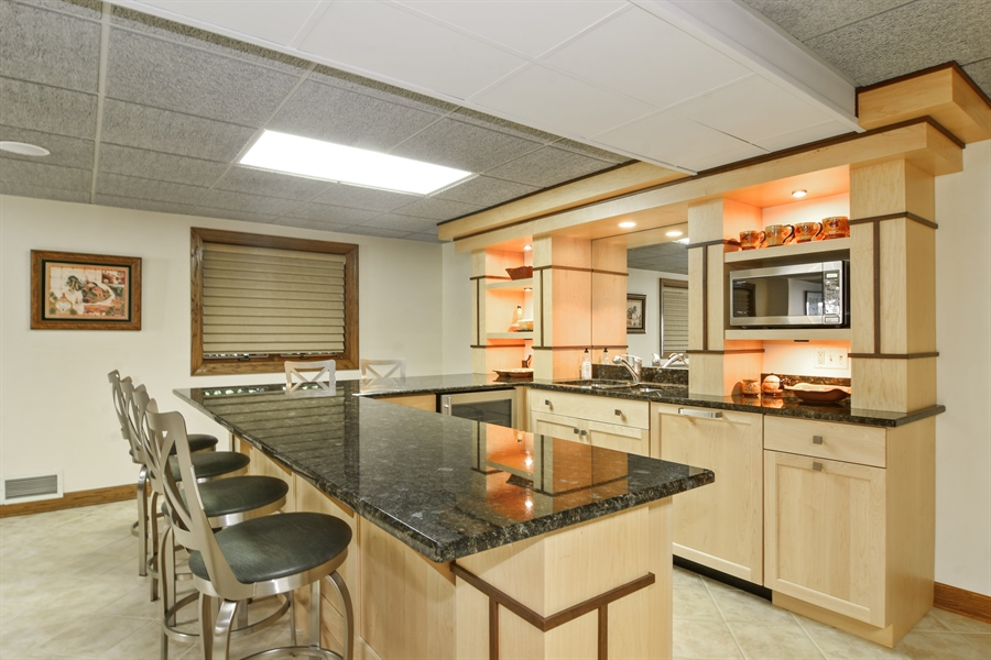 Real Estate Photography - 5443 Forrest Trail, Long Grove, IL, 60047 - Lower Level Kitchenette