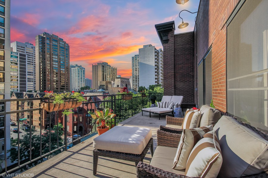 Real Estate Photography - 39 E Schiller Street, Unit 4W, Chicago, IL, 60610 - Terrace off 2nd/3rd/4th Bedroom (dusk)