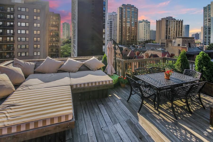 Real Estate Photography - 39 E Schiller Street, Unit 4W, Chicago, IL, 60610 - Roof Top Terrace (dusk)