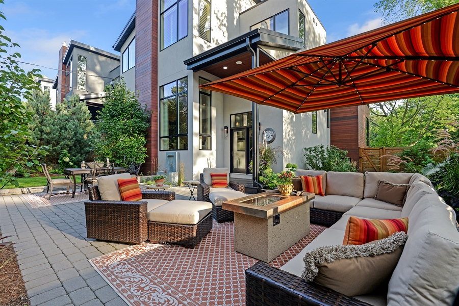 Real Estate Photography - 1133 Leonard Place, Evanston, IL, 60201 - Patio View and back of house