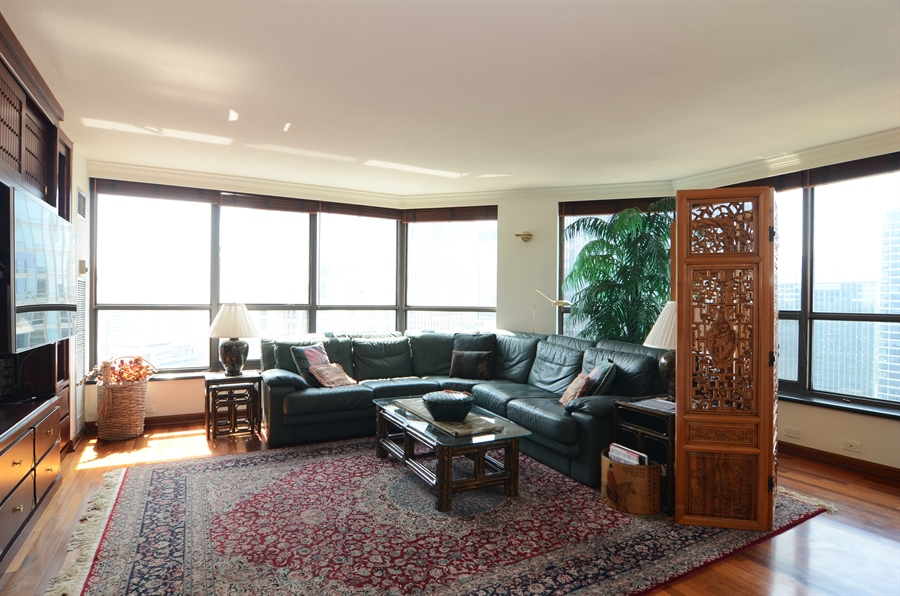 Real Estate Photography - 405 N Wabash, Unit 4404, Chicago, IL, 60611 - Living Room