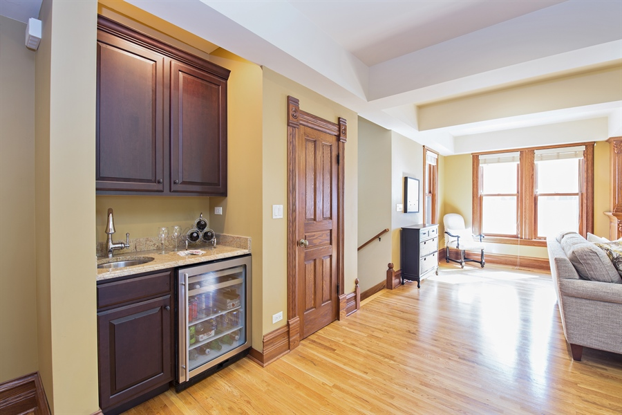 Real Estate Photography - 419 N Wheaton Ave, Wheaton, IL, 60187 - Wet Bar/Living Room