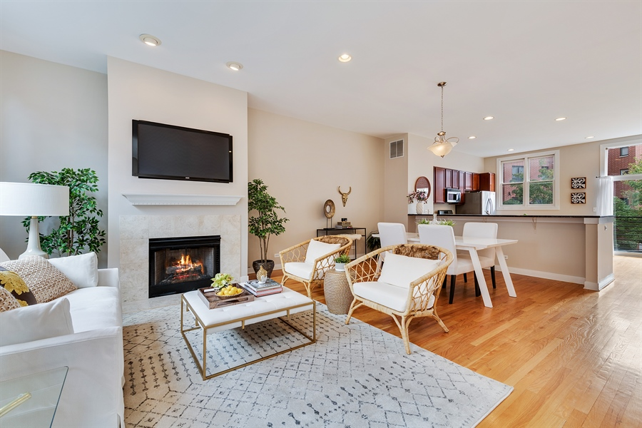Real Estate Photography - 2314 W Wolfram, Chicago, IL, 60618 - Living Room/Dining Room