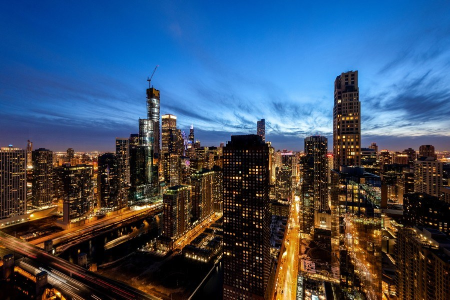 Real Estate Photography - 505 N. Lake Shore Drive, 6010, Chicago, IL, 60611 - Evening City View