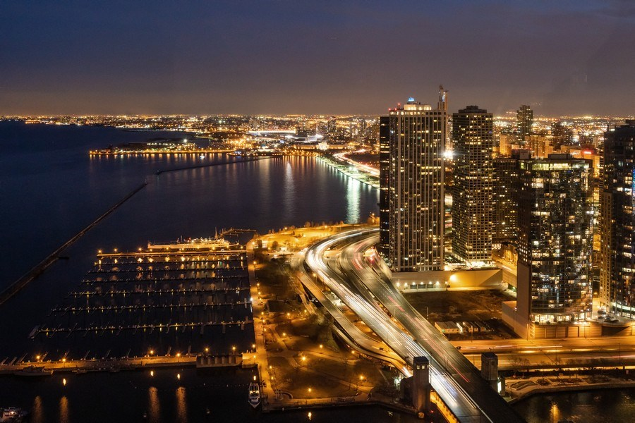 Real Estate Photography - 505 N. Lake Shore Drive, 6010, Chicago, IL, 60611 - Evening Lake & City Views