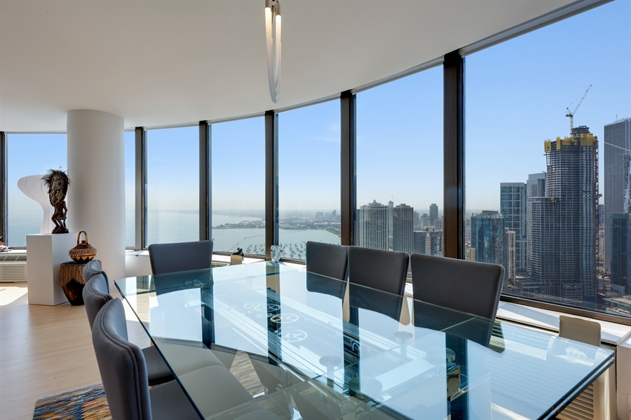 Real Estate Photography - 505 N. Lake Shore Drive, 6010, Chicago, IL, 60611 - Dining Room