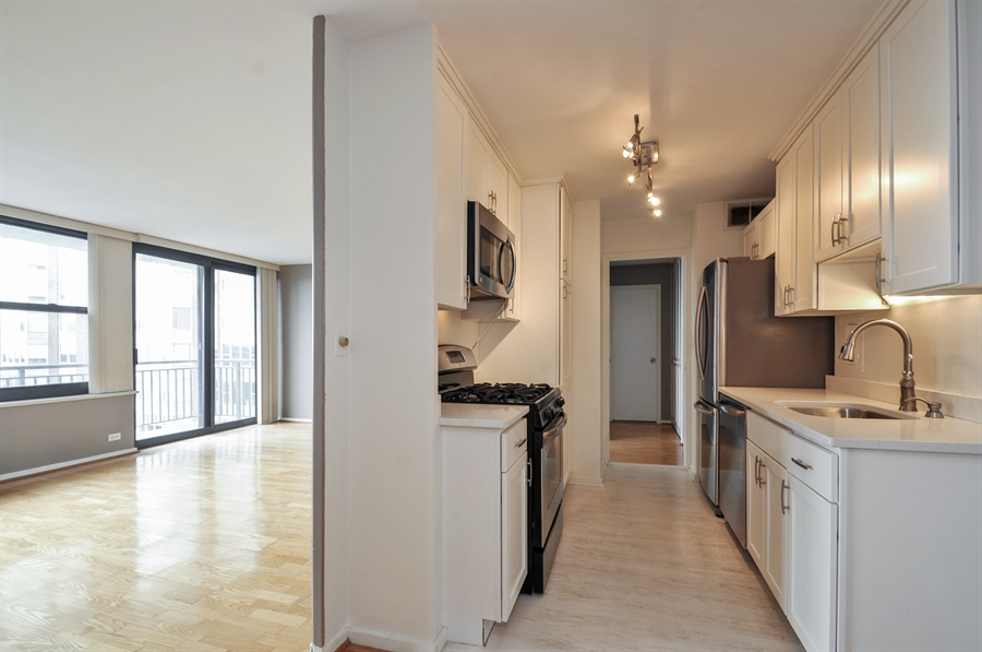 Real Estate Photography - 3430 Lake Shore Dr., 12M, Chicago, IL, 60657 - Kitchen / Living Room