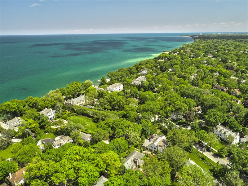 Real Estate Photography - 650 Sheridan Road, Winnetka, IL, 60093 - Aerial View