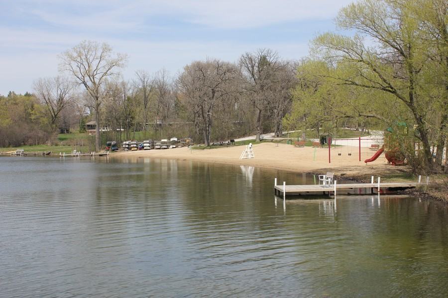 Real Estate Photography - 21227 W Andover Dr, Mundelein, IL, 60060 - Beach View from Island - Boat Deck Storage