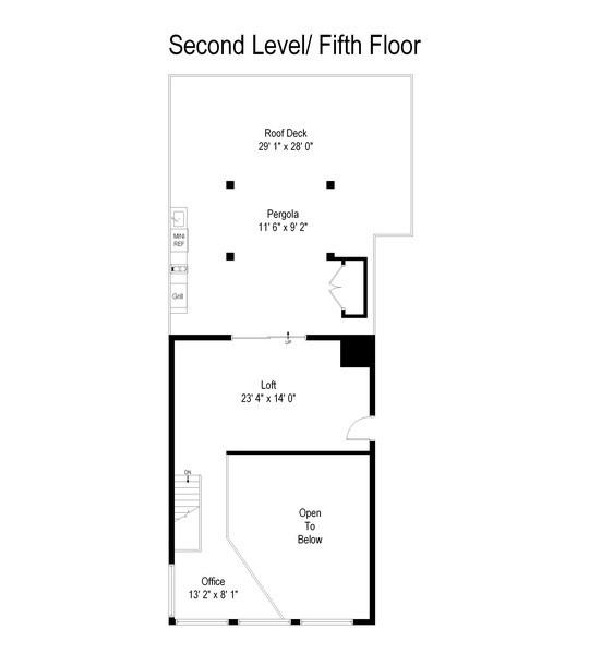 Real Estate Photography - 1373 Hubbard, Unit 4E, Chicago, IL, 60642 - Floor Plan