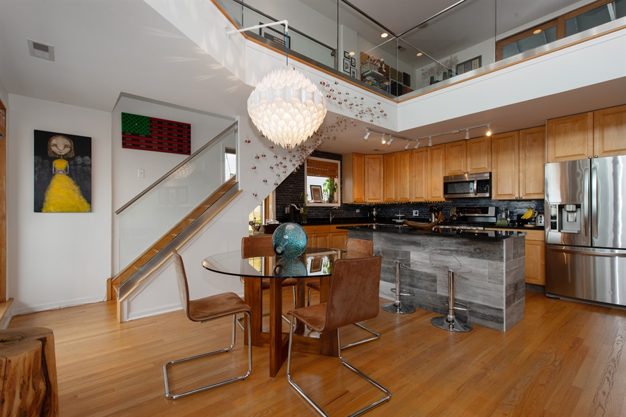 Real Estate Photography - 1373 Hubbard, Unit 4E, Chicago, IL, 60642 - Kitchen / Dining Room